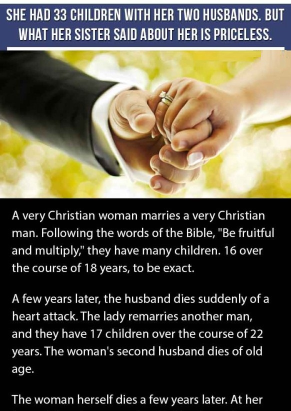 A WOMAN SAID ABOUT HER SISTER'S TWO HUSBANDS