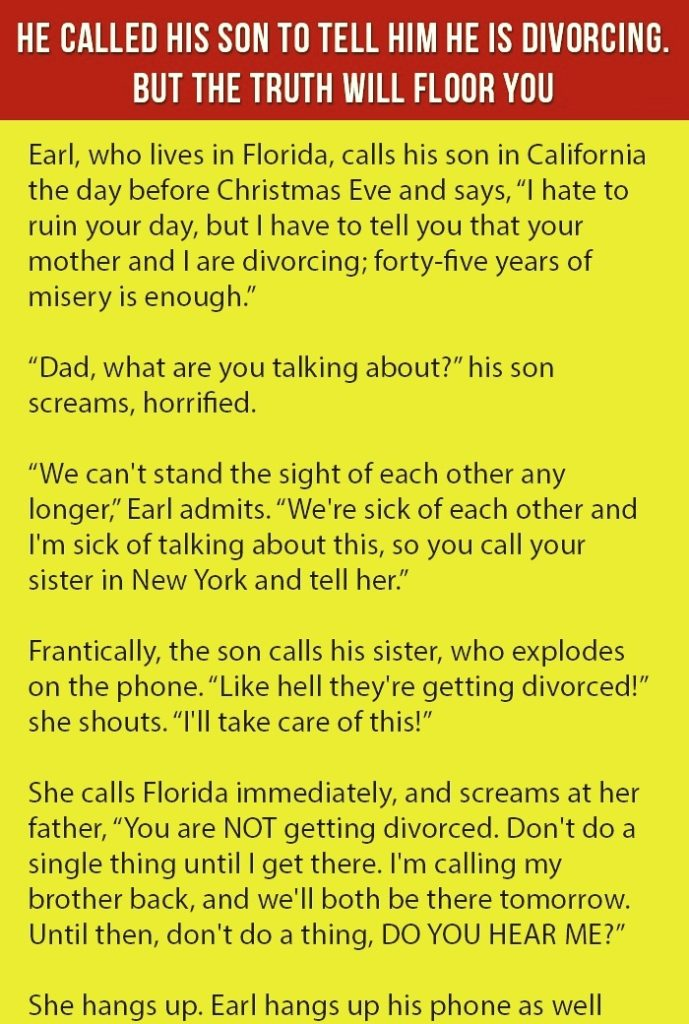 He Called His Son To Tell Him He Is Divorcing.
