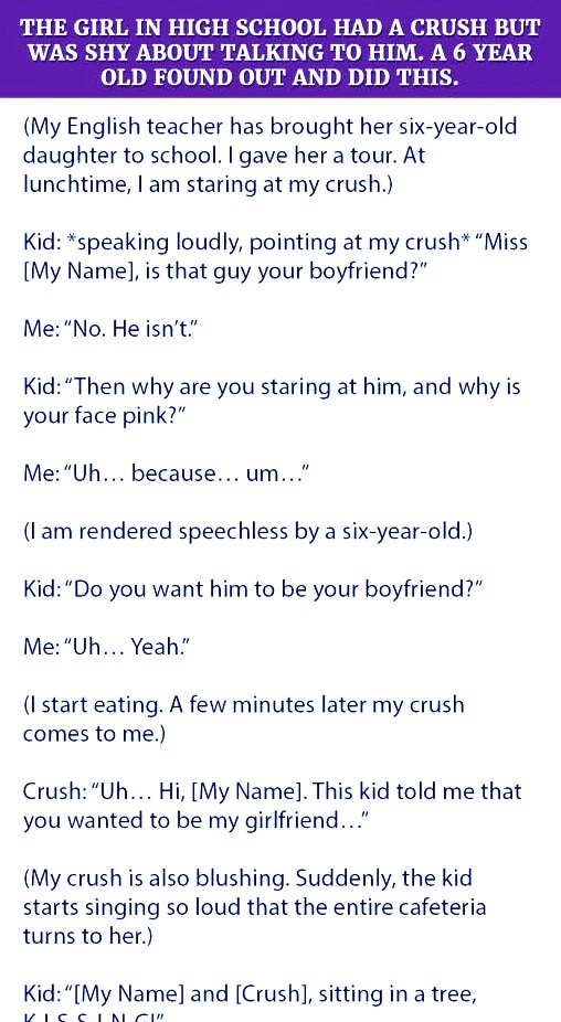 A 6 year old kid find out about the crush of this girl then he did this about the hesitation of the girl.