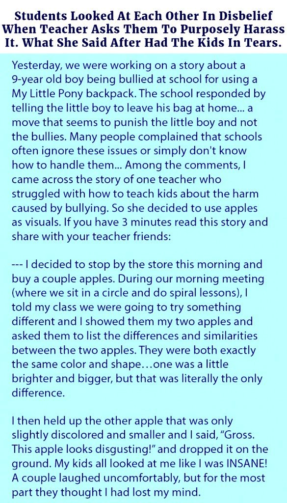 A Teacher In the class started harassing the kids and ask something from them that make them tear.