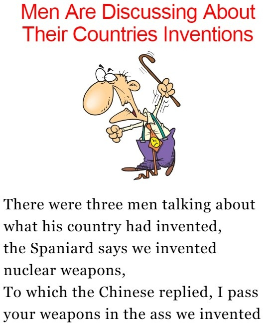 Men Are Discussing About Their Countries Inventions